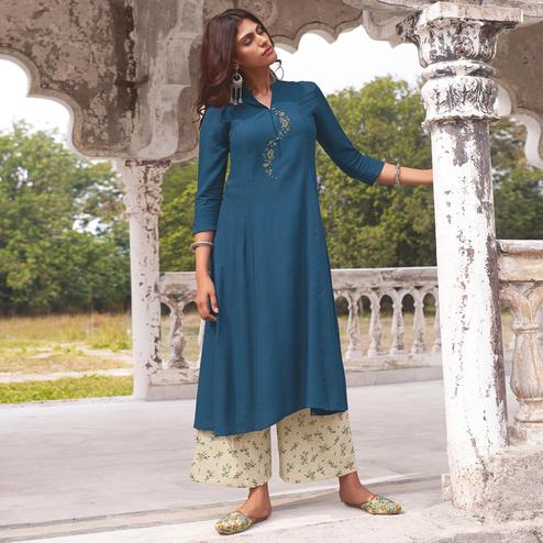 Radiant Blue Colored Party Wear Embroidered Cotton Kurti-Palazzo Set