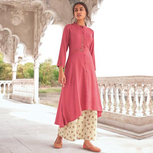 Pleasant Pink Colored Party Wear Embroidered Cotton Kurti-Palazzo Set
