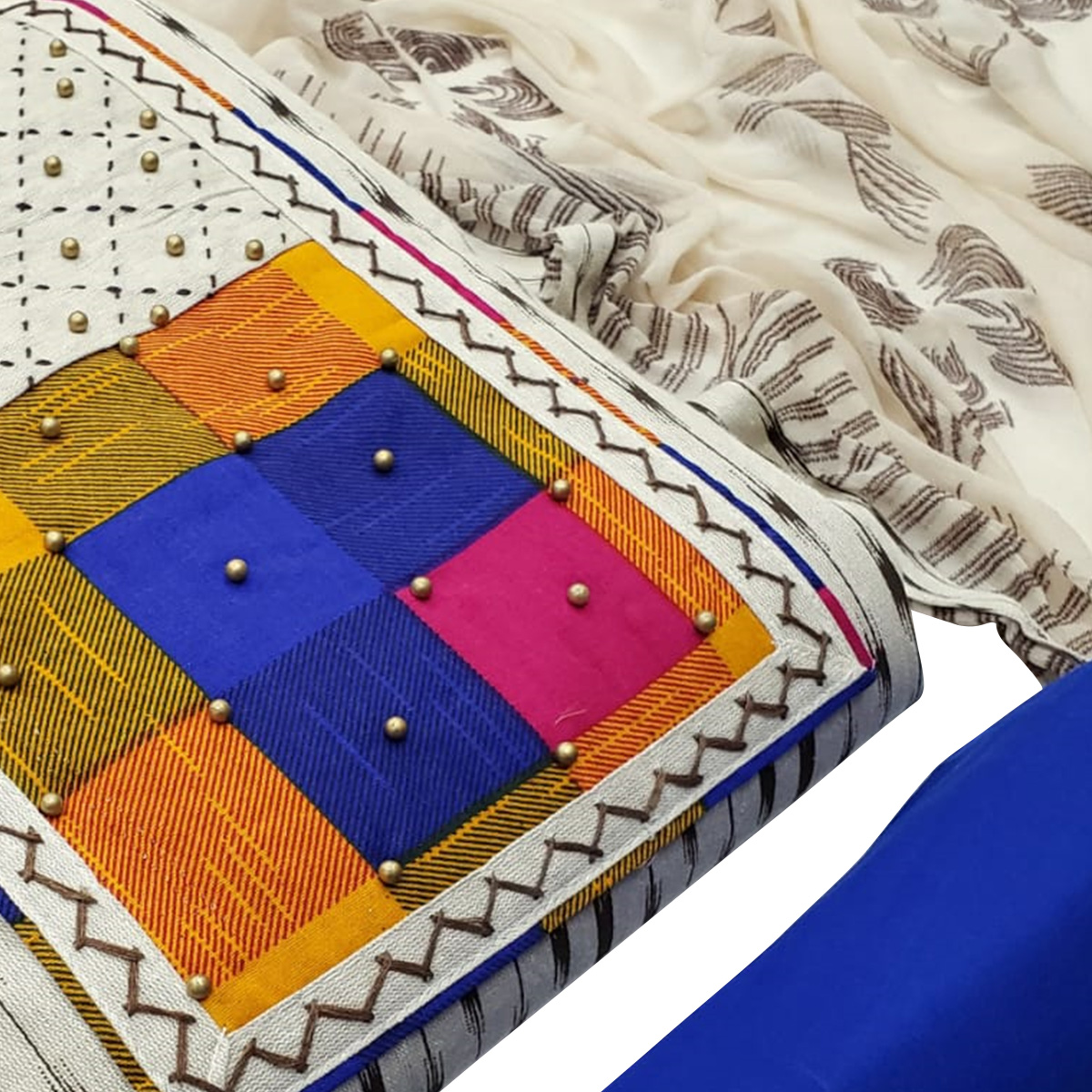 Sensational Offwhite - Blue Colored Partywear Embroidered Cotton Dress Material