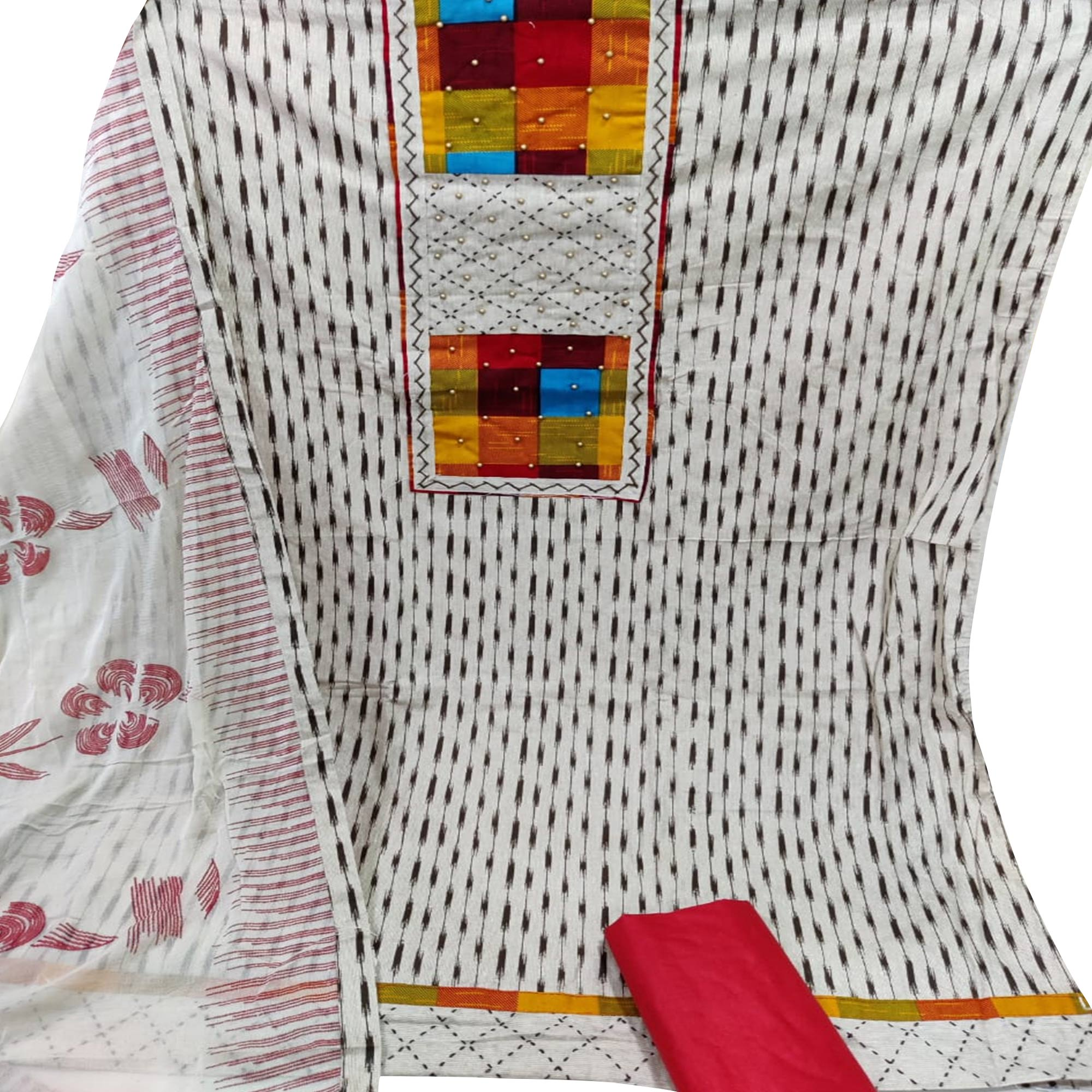 Stunning Offwhite - Red Colored Partywear Embroidered Cotton Dress Material