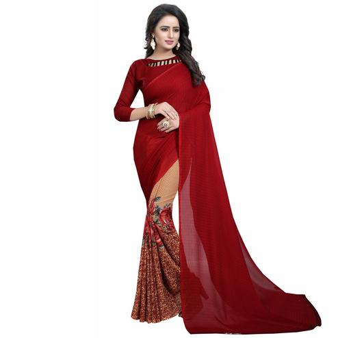 Maroon-Cream Casual Wear Printed Half And Half Georgette Saree