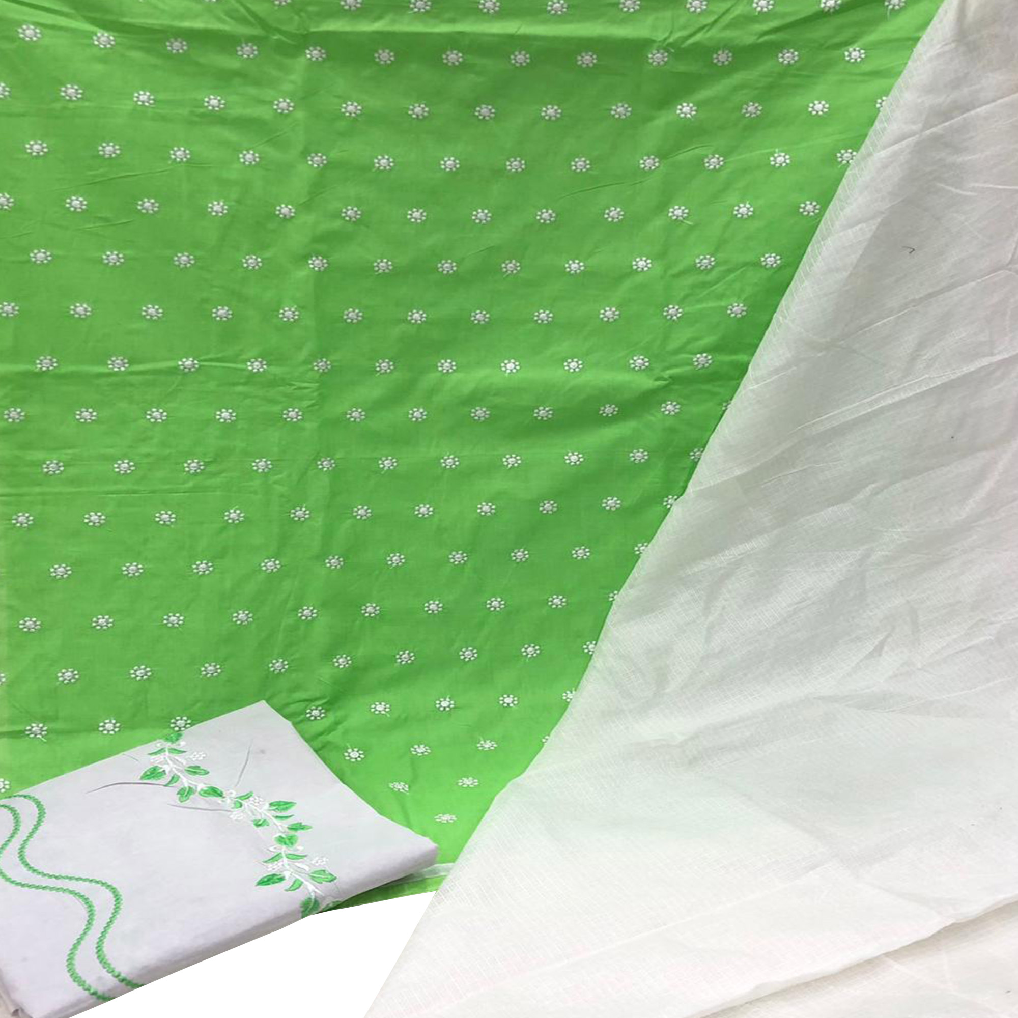 Blooming Green Colored Partywear Embroidered Cotton Dress Material