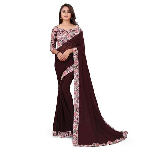 IRIS - Brown Colored Casual Wear Border Work Georgette Saree