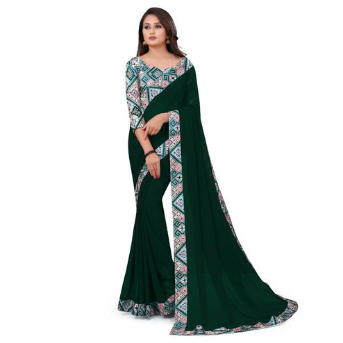 IRIS - Green Colored Casual Wear Border Work Georgette Saree