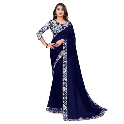 IRIS - Navy Blue Colored Casual Wear Border Work Georgette Saree