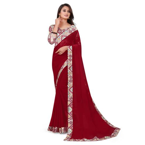 IRIS - Red Colored Casual Wear Border Work Georgette Saree