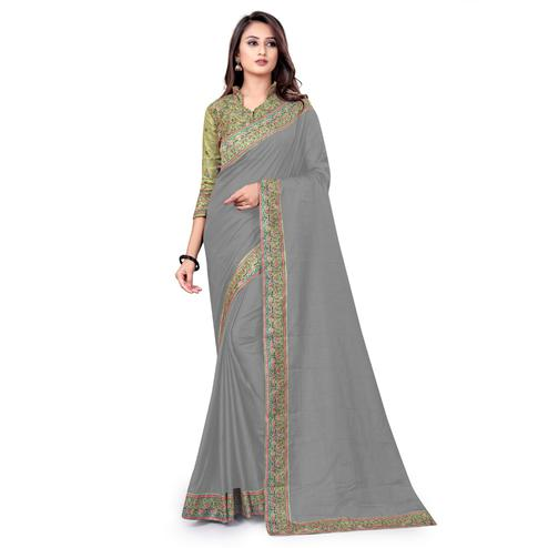IRIS - Grey Colored Party Wear Woven Dola Silk Saree