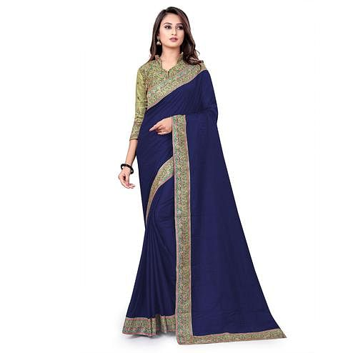 IRIS - Navy Blue Colored Party Wear Woven Dola Silk Saree