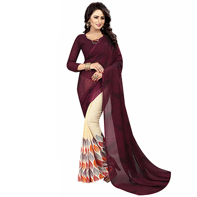 Wine-Off-White Casual Wear Printed Half And Half Georgette Saree