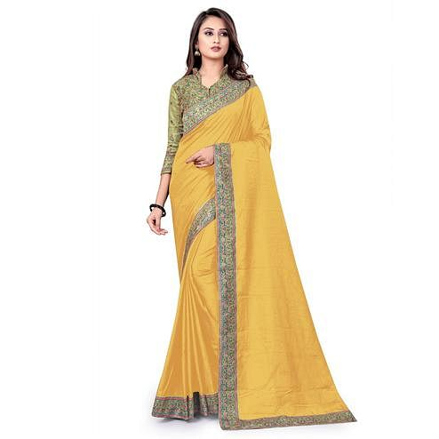IRIS - Yellow Colored Party Wear Woven Dola Silk Saree