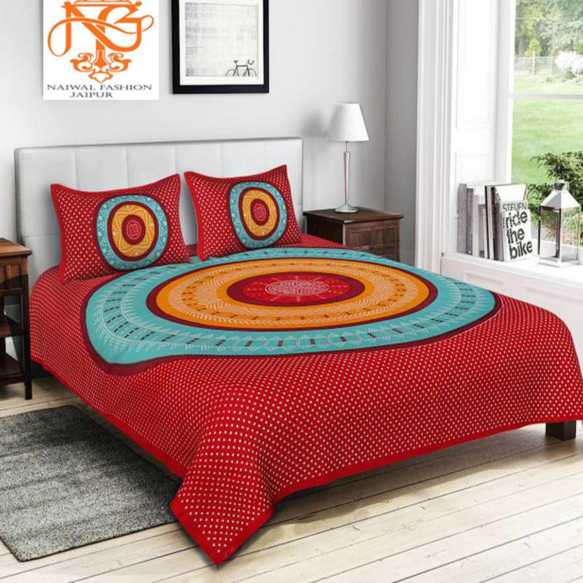 Bhagats - Red and Blue Colored Printed Cotton Double Bedsheet with 2 Pillow Cover