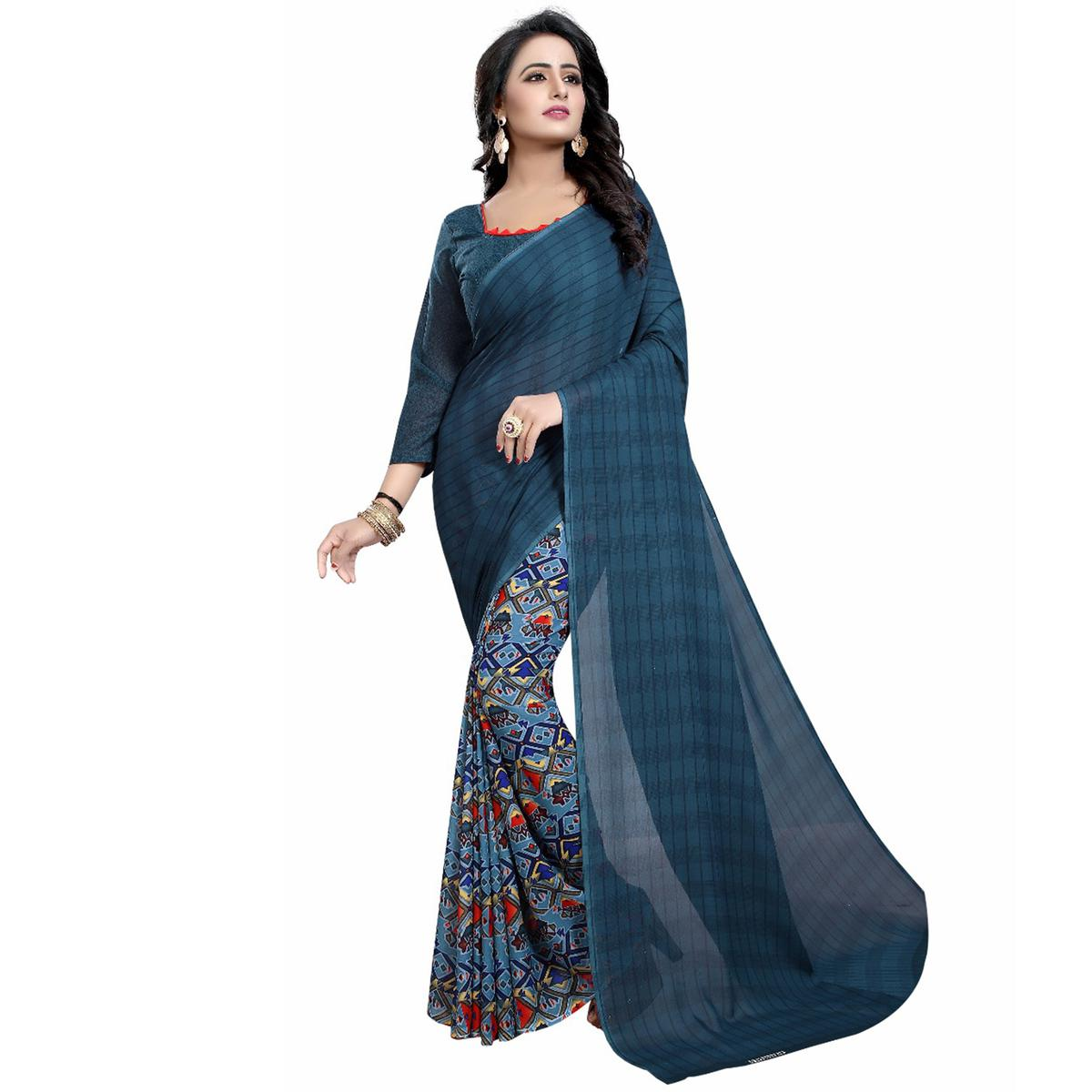 Teal Blue Casual Wear Printed Half And Half Georgette Saree