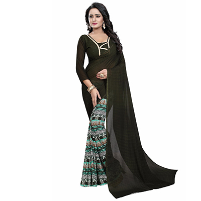 Mehendi Green Casual Wear Printed Half And Half Georgette Saree