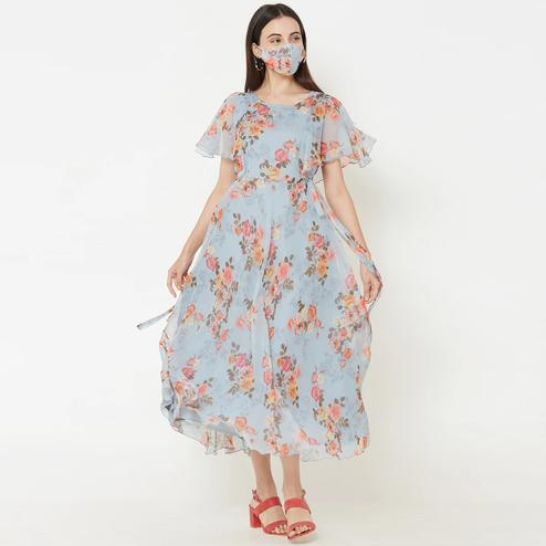 Groovy Sky Blue Colored Partywear Floral Printed A-Line Chiffon Dress