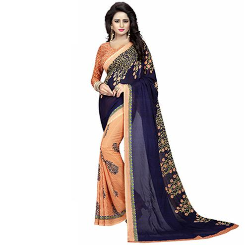 Navy Blue-Peach Casual Wear Printed Half And Half Georgette Saree