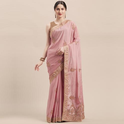 Arresting Dusty Pink Colored Party Wear Embroidered Silk Saree