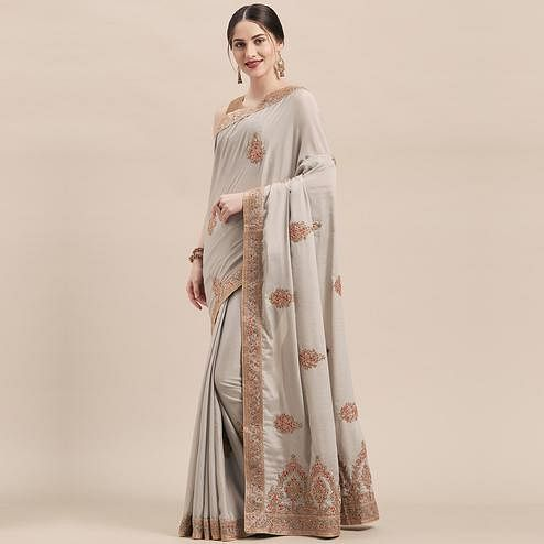 Desirable Grey Colored Party Wear Embroidered Silk Saree