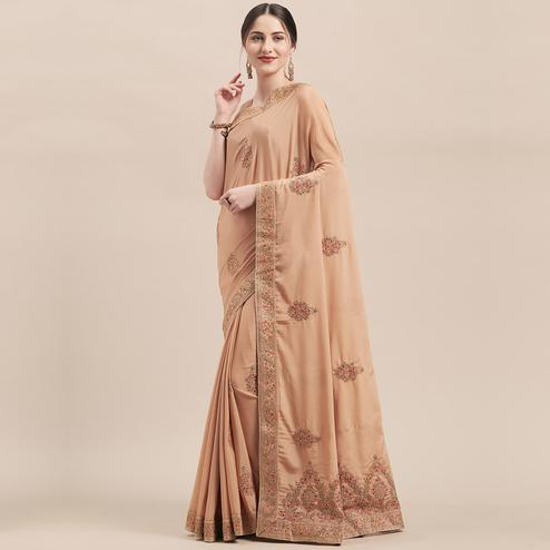 Exotic Light Brown Colored Party Wear Embroidered Silk Saree