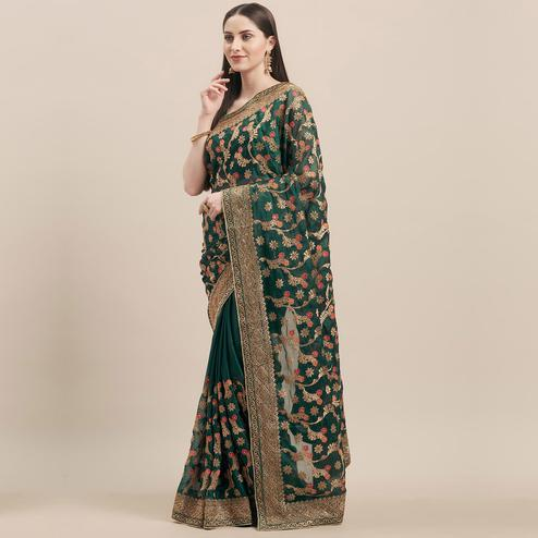Trendy Bottle Green Colored Party Wear Embroidered Poly Georgette Saree