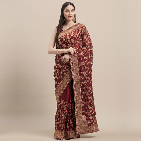 Elegant Maroon Colored Party Wear Embroidered Poly Georgette Saree