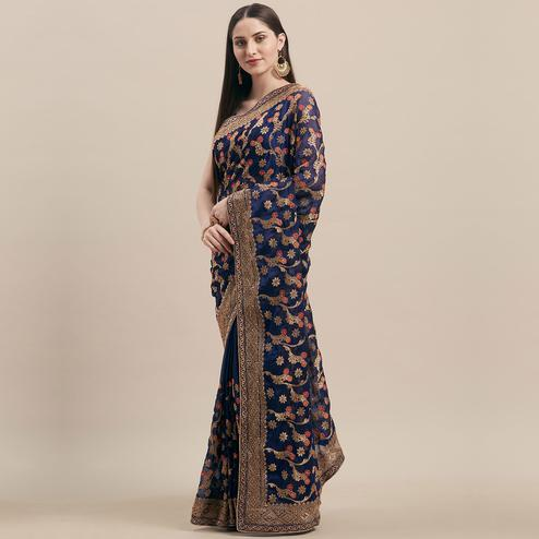 Radiant Blue Colored Party Wear Embroidered Poly Georgette Saree