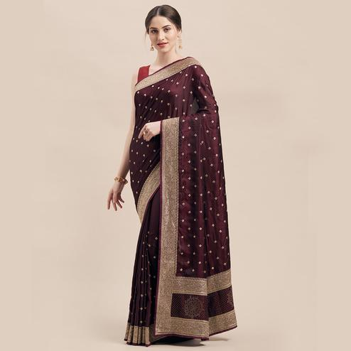 Opulent Wine Colored Party Wear Embroidered Satin Silk Saree