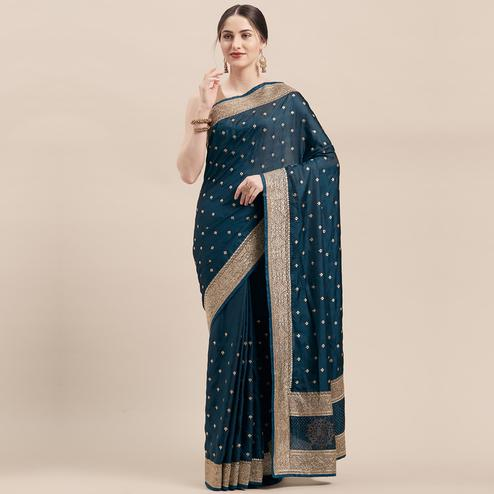 Energetic Teal Blue Colored Party Wear Embroidered Satin Silk Saree