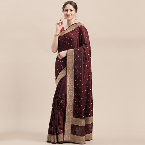 Glowing Maroon Colored Party Wear Embroidered Satin Silk Saree