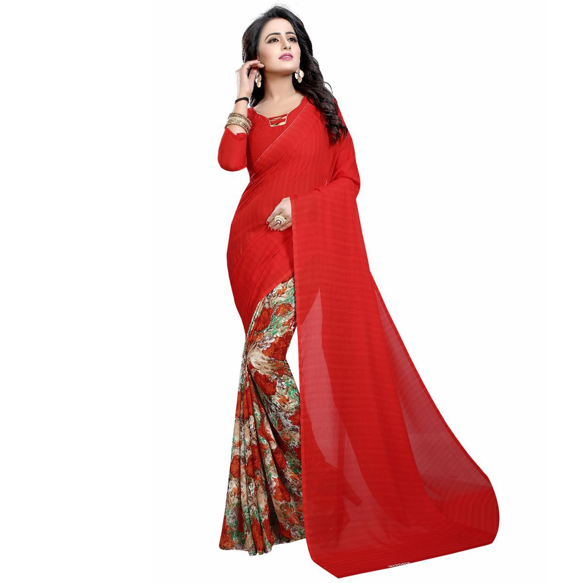 Red Casual Wear Printed Half And Half Georgette Saree