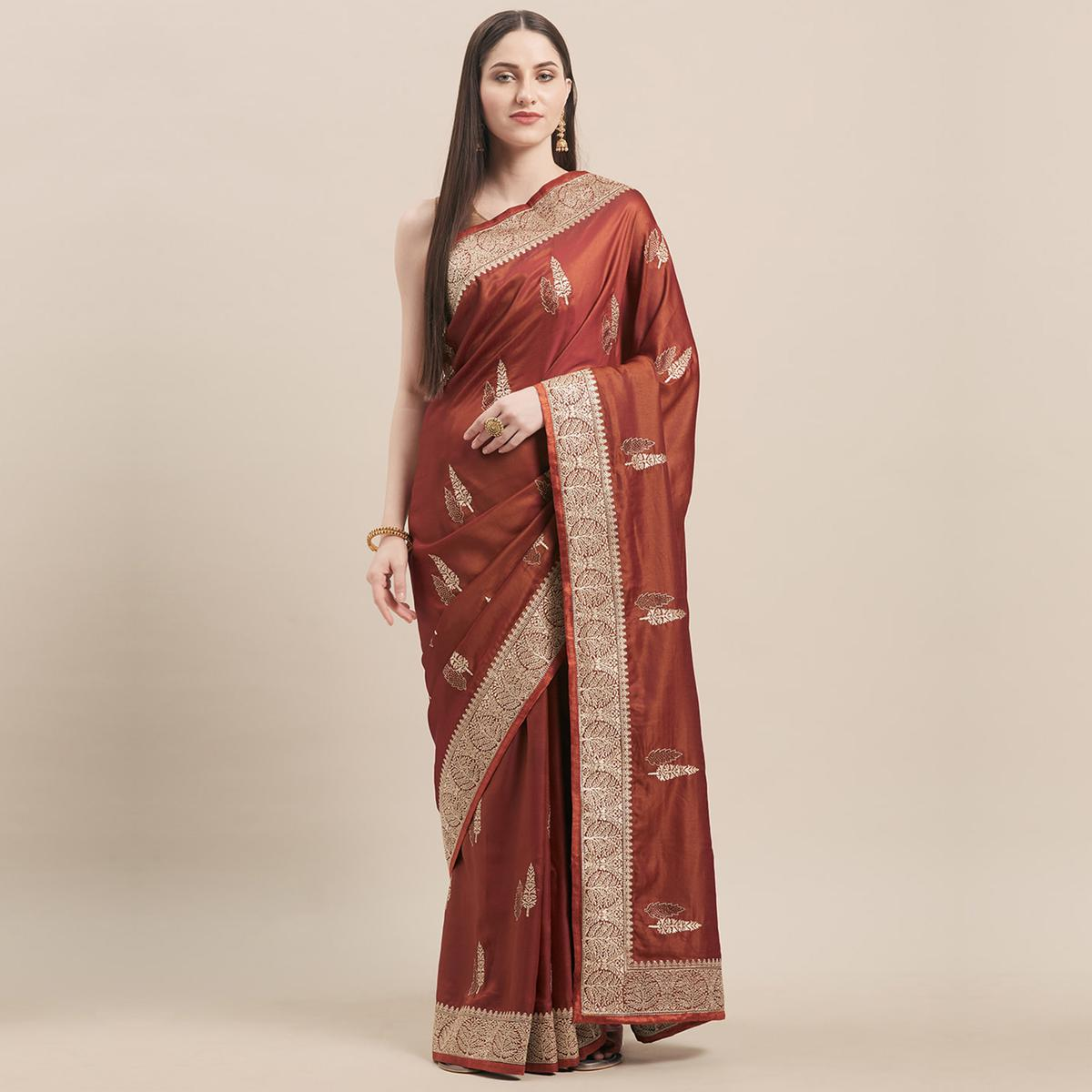 Mesmeric Rust Brown Colored Party Wear Embroidered Satin Silk Saree
