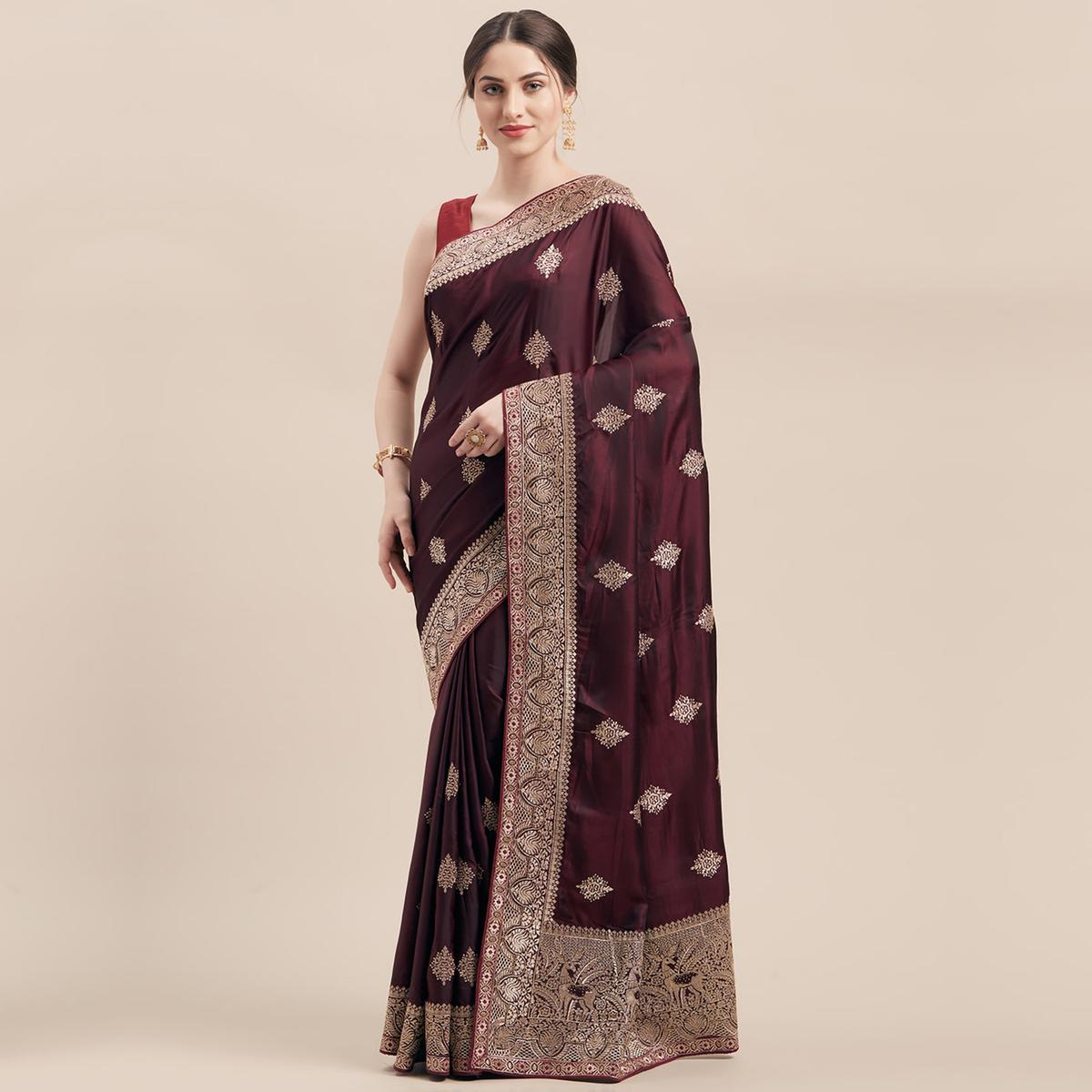 Hypnotic Wine Colored Party Wear Embroidered Satin Silk Saree