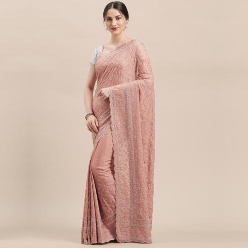 Flamboyant Dusty Pink Colored Party Wear Embroidered Pure Georgette Saree