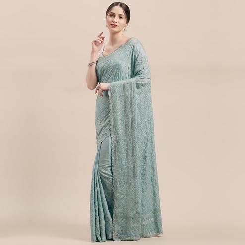 Pretty Light Blue Colored Party Wear Embroidered Pure Georgette Saree