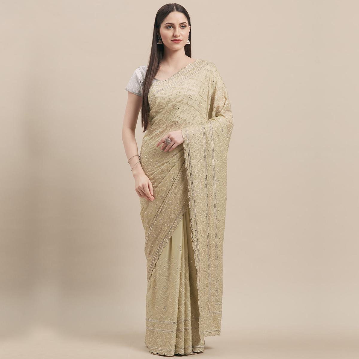 Alluring Beige Colored Party Wear Embroidered Pure Georgette Saree