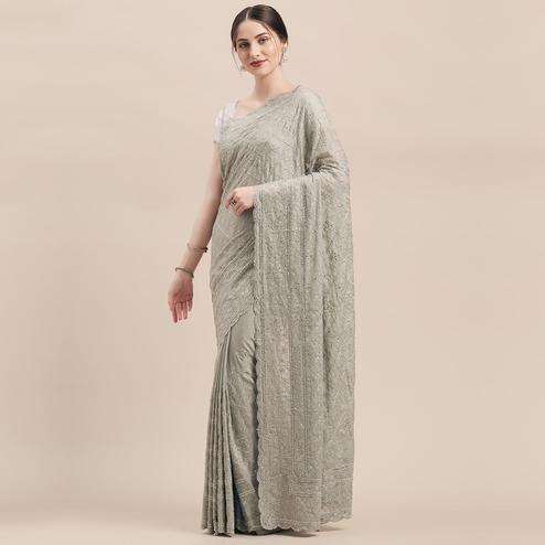 Flaunt Grey Colored Party Wear Embroidered Pure Georgette Saree