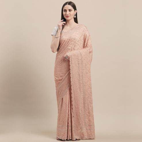 Stunning Dusty Peach Colored Party Wear Embroidered Pure Georgette Saree