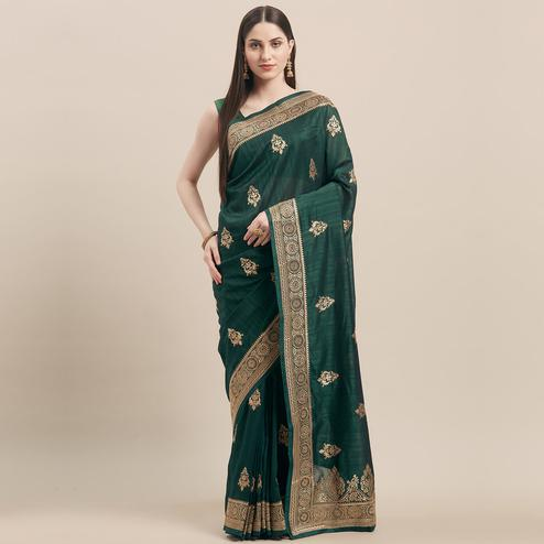 Classy Bottle Green Colored Party Wear Embroidered Tussar Silk Saree