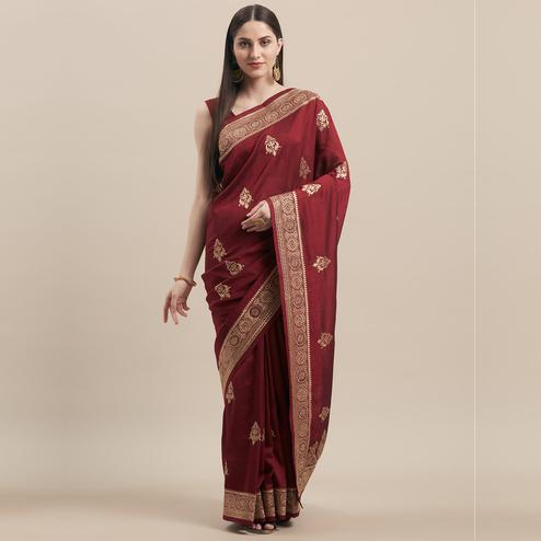 Prominent Maroon Colored Party Wear Embroidered Tussar Silk Saree
