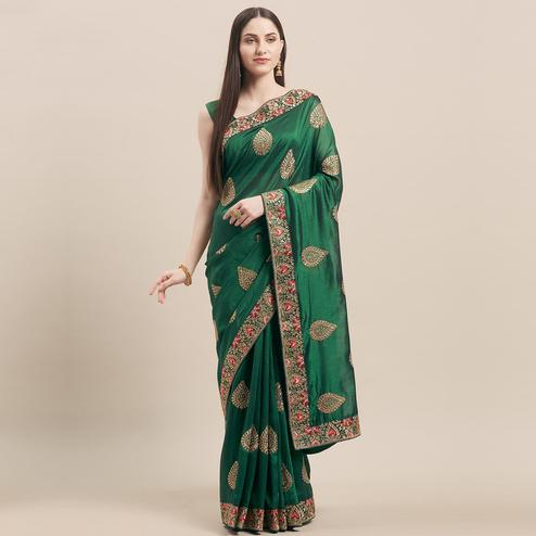 Capricious Bottle Green Colored Party Wear Embroidered Art Silk Saree