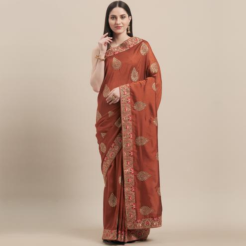 Groovy Rust Brown Colored Party Wear Embroidered Art Silk Saree