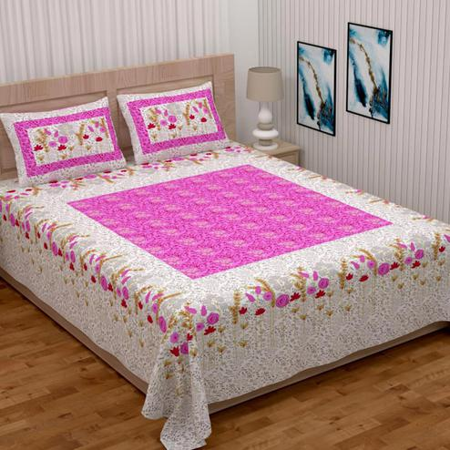 Exotic Pink Colored Printed Double Cotton Bedsheet With 2 Pillow Cover