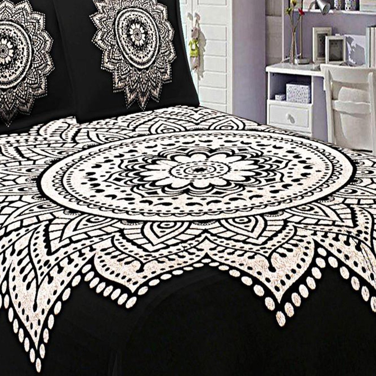 Pleasant Black Colored Printed Double Cotton Bedsheet With 2 Pillow Cover