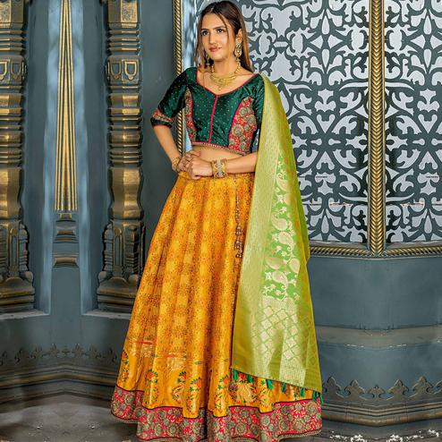 Blissful Navy Blue Colored Party Wear Woven Banarasi Silk Lehenga Choli