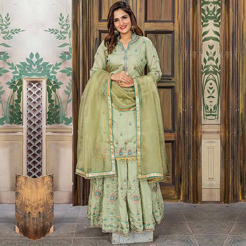 Elegant Olive Green Colored Party Wear Embroidered Pashmina Sharara Suit