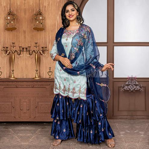 Ethnic Sky Blue Colored Party Wear Embroidered Art Silk Sharara Suit