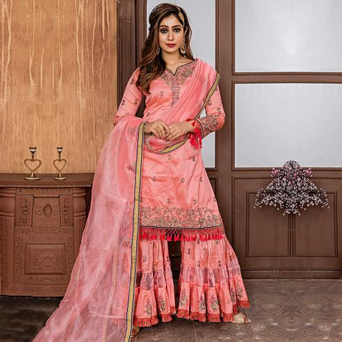 Ravishing Peach Colored Party Wear Embroidered Art Silk Sharara Suit