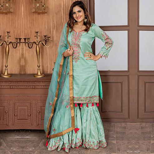 Staring Mint Green Colored Party Wear Embroidered Art Silk Sharara Suit