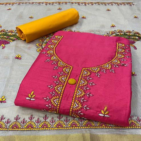 Unique Pink Colored Partywear Embroidered Cotton Dress Material