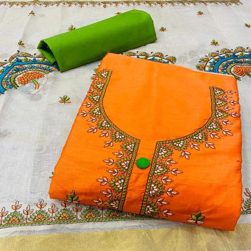 Refreshing Orange Colored Partywear Embroidered Cotton Dress Material