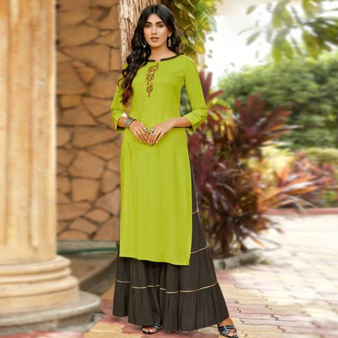 Gleaming Parrot Green Colored Partywear Embroidered Rayon Sharara Suit